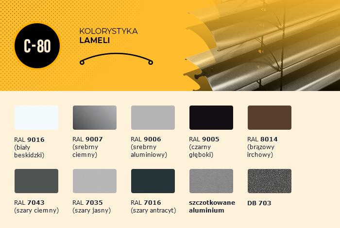 Kolorystyka lameli C-80:  - biały beskidzki (RAL 9016), - srebrny ciemny (RAL 9007), - srebrny aluminiowy (RAL 9006), - czarny głęboki (RAL 9005), - brązowy irchowy (RAL 8014),  - szary ciemny (RAL 7043), - szary jasny (RAL 7035) - szary antracyt (RAL 7016), - szczotkowane aluminium, - DB 703.